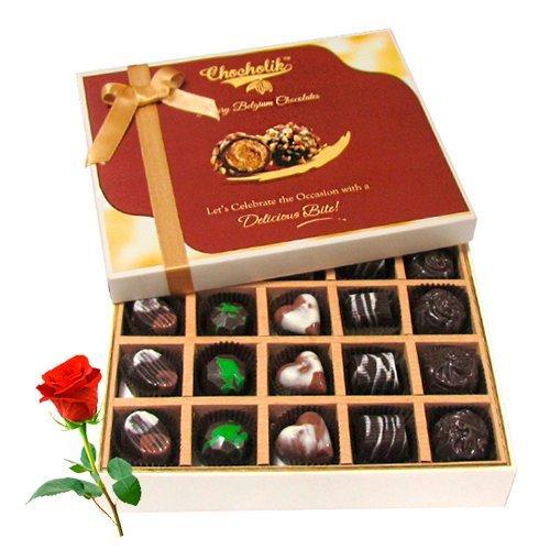 Valentine Chocholik's Belgium Chocolates - Creative Collection Of Dark And Milk Chocolate Box With Red Rose