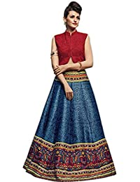 Aryan Fashion Designer English Grey Bhagalpuri Print Embroidery Work Semi-Stitched Lehenga Choli