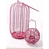Sutra Décor Pink Metal Cage Candle Holder Set Of 2
