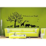 Hoopoe Decor Welcome To Our Jungle Wall Stickers And Wall Decals, Best Wall Arts For Home Decoration - Black