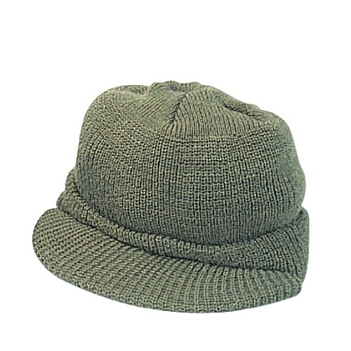 Genuine G.I. Olive Drab Wool Jeep Cap, Knit Hat With Visor
