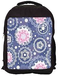 Snoogg Delightful Flower Pattern Cute Backpack Rucksack School Travel Unisex Casual Canvas Bag Bookbag Satchel