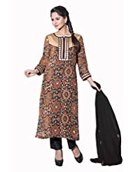 Salwar Studio Multicolor & Black Georgette Salwar Suit - SS3140