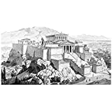 ArtzFolio Victorian Engraving Of The Acropolis At Athens - Large Size 30.0 Inch X 20.0 Inch - FRAMED PREMIUM CANVAS...