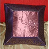 CRAFT OPTIONS SILK BROCADE ORCHID CENTRE EMBROIDERY CUSHION COVER (PURPLE AND ORCHID COLOR)