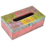 Antique Multi Colored Wooden Tissue Box - Napkin Box(Multicolor, 25.4cm)