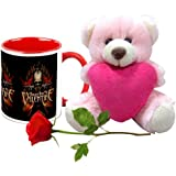 Valentine Gifts HomeSoGood Bullet For My Valentine White Ceramic Coffee Mug With Teddy & Red Rose - 325 Ml