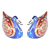 Rajgharana HandicraftsMulti Color Metal Meenakari Metallic Pair Of Duck (Set Of 2) - (5 Cm X 7 Cm)