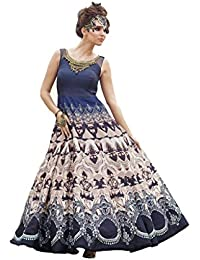 New Designer Fashionable Blue & Cream Bhagalpuri Semi Stitched Gown