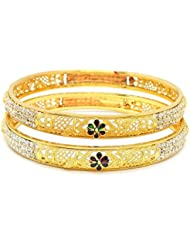 ESHOPITUDE PEACOCK MULTI-COLOR MEENAKARI CZ AMERICAN DIAMOND GOLD PLATED BANGLES SET FOR WOMEN SIZE 2.6