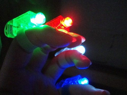 Fingertip LED lights for an emergency