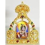 DollsofIndia Bal Gopal On Stone Studded And Golden Carved Metal Frame - Metal Frame