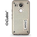 Cubix® Mesh Case For Google Nexus 5X Case Back Cover Slim Hybrid Defender Bumper Shock Proof Case Armor Cover With Flip Kick Stand For Google Nexus 5X Gold