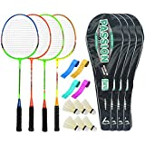 Guru PassionBR08 Series-COMBO-1 Badminton Racquets Set Pack Of Four With Four Cover Six Shuttlecock & Four Hand...
