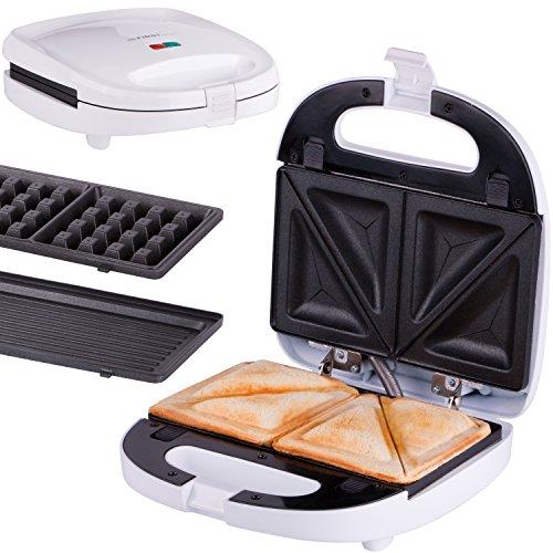 Croque-gaufre 3 en 1 | gaufrier | grill de table | système de clip | thermostat | témoin de cuisson | appareil à croque-monsieur | 700 Watt | grill de...
