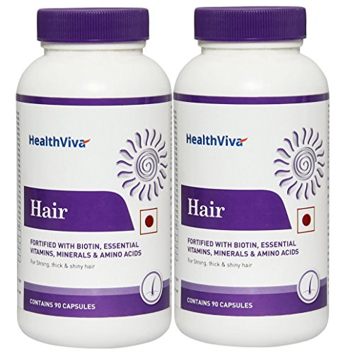 HealthViva Hair With Biotin, PABA, Cysteine + Multivitamin & Multimineral- For Hair Strength, 90 Capsules, Pack...