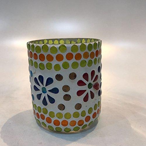 Dlite Crafts Multicolor Polka Design Home Decorative Votive Candle Holder, Set Of 2 PCs - B06XZYTMB6