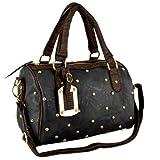 PRITA Studded Faux Crocodile Top Double Handle Doctor Style Bowler Shopper Tote Handbag Satchel Purse Shoulder Bag