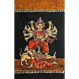 "Dolls Of India ""Devi Durga - Goddess Of Power"" Batik Painting On Cotton Cloth - Unframed (142.24 X 91.44 Centimeters..."