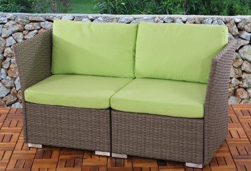 2er Sofa 2-Sitzer Siena Poly-Rattan, Gastronomie-Qualität ~ grau mit Kissen in hellgrün