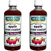 Neuherbs 100% Natural Apple Cider Vinegar With Mother Of Vinegar - 500ml - Pack Of 2 - Free Nutrition Consultation...