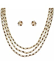 Nisa Pearls White And Gold Crystal Necklace For Women