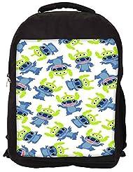 Snoogg Alien Blue Cartoon Cute Backpack Rucksack School Travel Unisex Casual Canvas Bag Bookbag Satchel