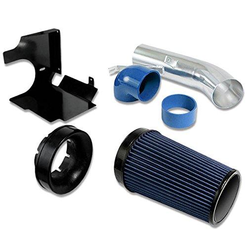 GMT800 V8 Truck/SUV 4″ Aluminum Air Intake System (Blue Filter / Silver Pipe / Black Heat Shield)
