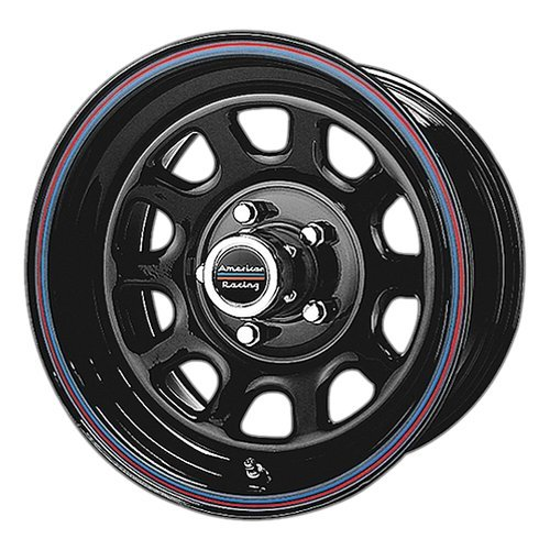 American Racing Custom Wheels AR767 Gloss Black Wheel With Red And Blue Strip (15×7″/5×114.3mm, 0mm offset)