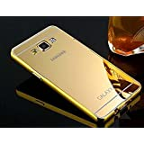 Metal Bumper Frame With Mirror Back Cover Case For Samsung Galaxy J7 (Gold)