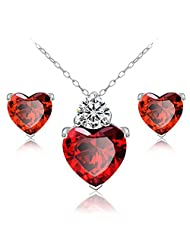 Genuine 925 Sterling Silver Red Heart Pendant And Earrings Set By Via Mazzini