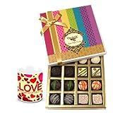 Valentine Chocholik Belgium Chocolates - Fantastic Admire Of White And Dark Chocolate Box With Love Mug