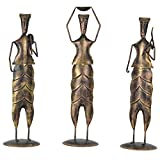 Pushpa Wood And Metal Labourers-(Set Of 3, 5 In X 18 In, Copper)