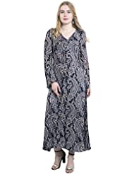 KASHANA Rayon Crepe Black Gray Paisley Printed Summer Dress For Women Girls Ladies