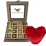 Valentine Chocholik's Belgium Chocolates - Temptations Dark Chocolates Collection With Heart Pillow