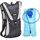 KuYou Hydration Backpack Water Rucksack Bladder Bag For Running Hiking Cycling And Any Other Outdoor Sports With 2L TPU Hydration Bladder. Black