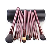 Megaga Makeup Brushes Studio Quality Natural Cosmetic Brush Set With Cup Holder Leather Case , 13 Count (Black...