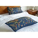Crewel Pillow Sham Floral Spread Royal Blue Cotton Duck King20x3 (20X36)