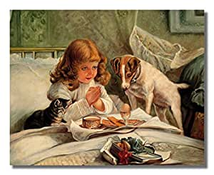 Amazon.com: Little Girl Praying In Bed Breakfast Dog And