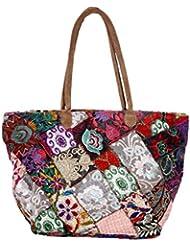 Indistar Women's Vintage Handmade Ethnic Cotton Patch Work Tote Hand Bag - B01LVY4B9Y