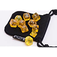 10 Piece Yellow Translucent Polyhedral Dice Set Includes Four Six Sided Dice (D6) And Free Small Dice Bag
