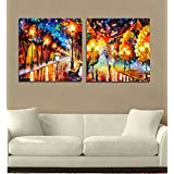 2 Painting Sets Of Two Different Rainy Night Canvas Oil Painting Print With Wooden Mounting | Printasia CANVAS...