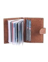 Hide&Sleek Genuine Soft Brown Leather Credit Card Holder Wallet