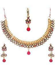 Nimble Golden Metal Choker Necklace Set For Women - B00XVMLEC2