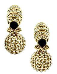 The Art Jewellery Black Stone & Moti Rajwadi Net Dangle&Drop Earrings For Women