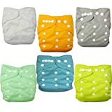Alva Baby Double Rrows Of Snaps 6pcs Pack Fitted Pocket Washable Adjustable Cloth Diaper With 2 Inserts Each (... - B00C7JW3GQ