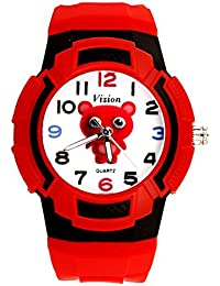 Vizion Analog Multi-Color Dial ( Teka-The Red Panda) Cartoon Character Red Watch For Kids- 8565AQ-6-2