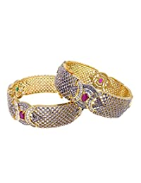 Aabhushan Jewels Ruby & Emerald Look Gold Plated American Diamond Bangles For Women - B00WUE807E