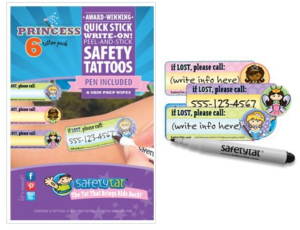 Theme Park Food and Safety - SafetyTat Child ID Safety Tattoo - Princess 6 Pack