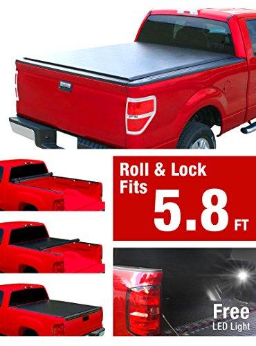 Premium Low Profile Roll Up Pickup Tonneau Cover Fits 2014-2016 Chevrolet/GMC Silverado/Sierra 1500/2015 Silverado/Sierra 2500/3500 5.8′ (69.6inch) Bed (w/out utility track system)